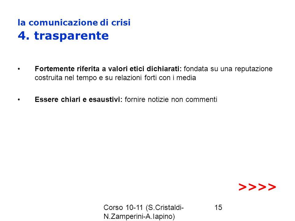 la comunicazione di crisi 4. trasparente