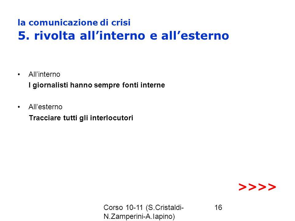 la comunicazione di crisi 5. rivolta all'interno e all'esterno
