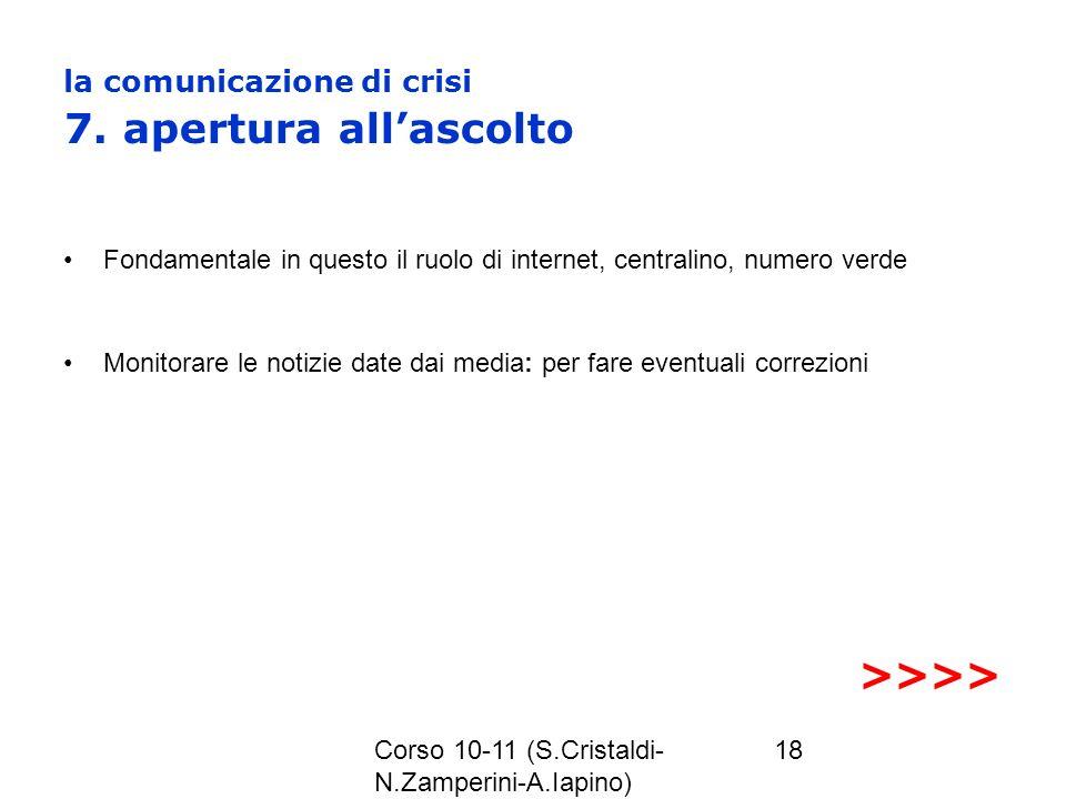 la comunicazione di crisi 7. apertura all'ascolto