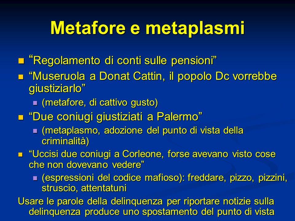Metafore e metaplasmi Regolamento di conti sulle pensioni