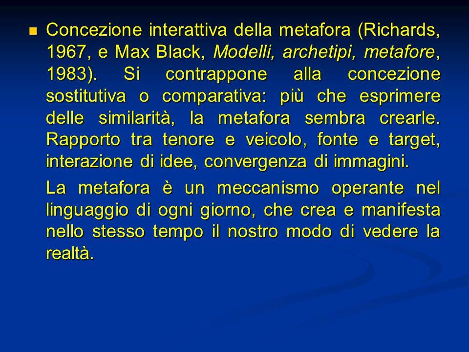 Concezione interattiva della metafora (Richards, 1967, e Max Black, Modelli, archetipi, metafore, 1983). Si contrappone alla concezione sostitutiva o comparativa: più che esprimere delle similarità, la metafora sembra crearle. Rapporto tra tenore e veicolo, fonte e target, interazione di idee, convergenza di immagini.