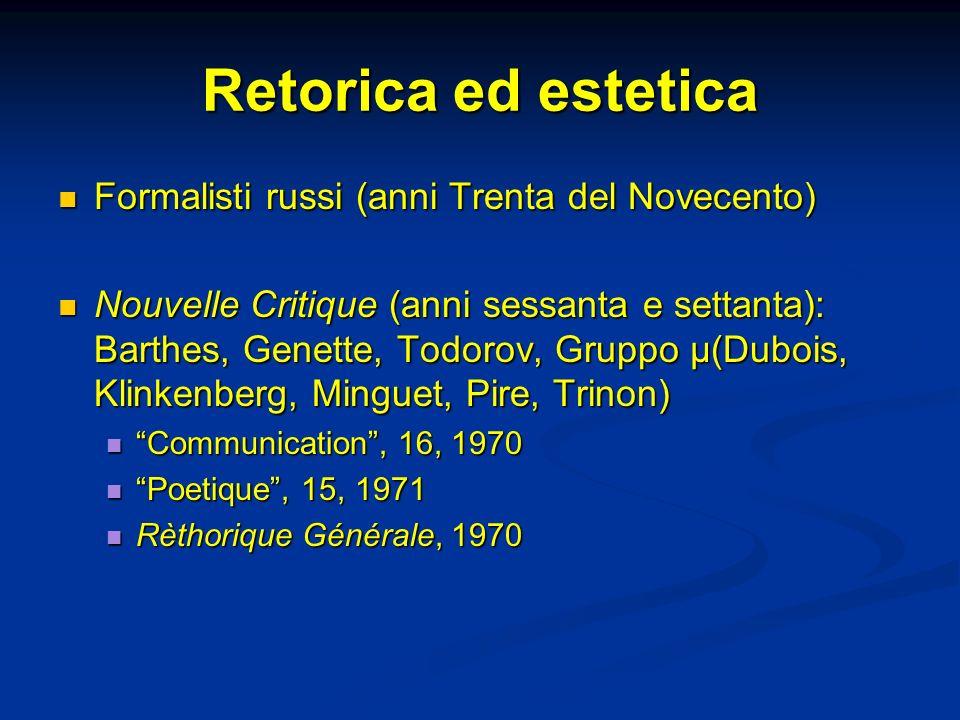 Retorica ed estetica Formalisti russi (anni Trenta del Novecento)