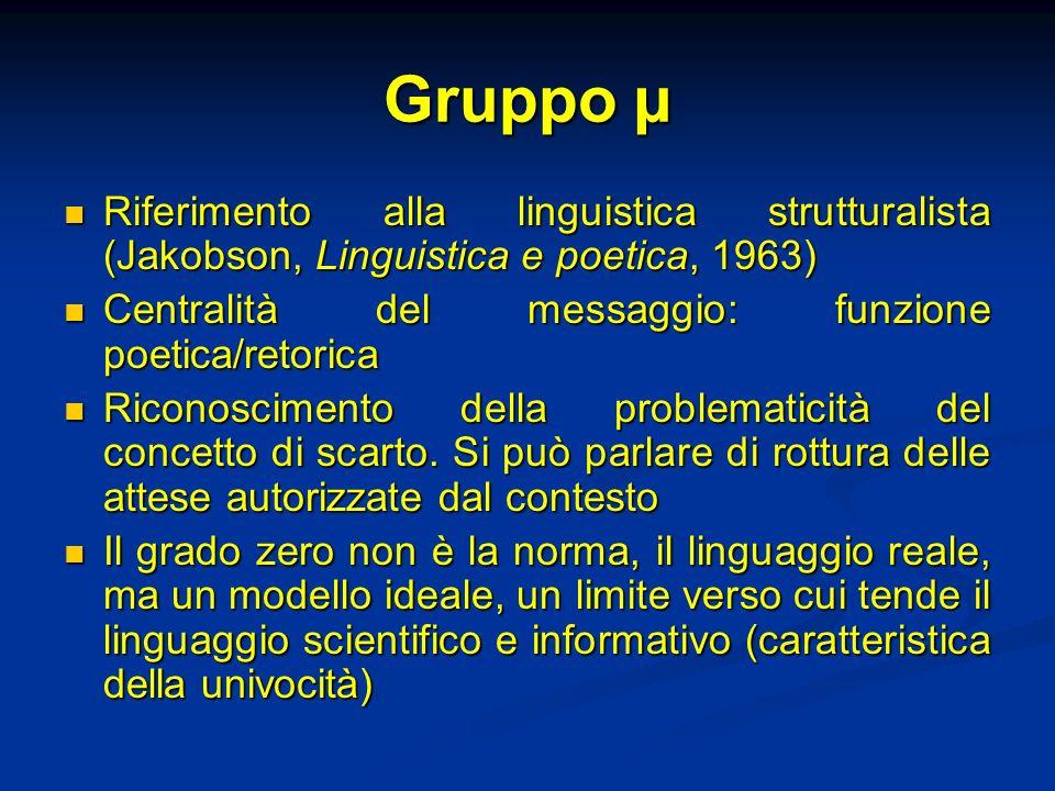 Gruppo µ Riferimento alla linguistica strutturalista (Jakobson, Linguistica e poetica, 1963) Centralità del messaggio: funzione poetica/retorica.