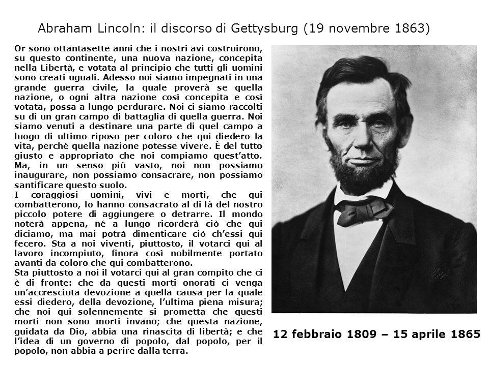 Abraham Lincoln: il discorso di Gettysburg (19 novembre 1863)