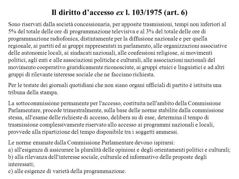 Il diritto d'accesso ex l. 103/1975 (art. 6)