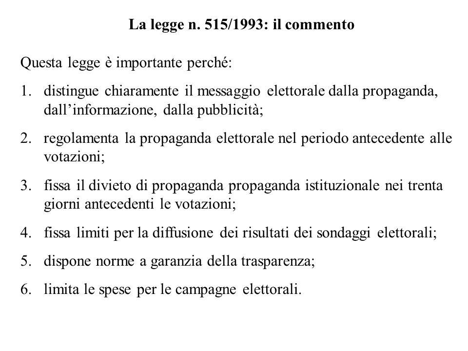 La legge n. 515/1993: il commento
