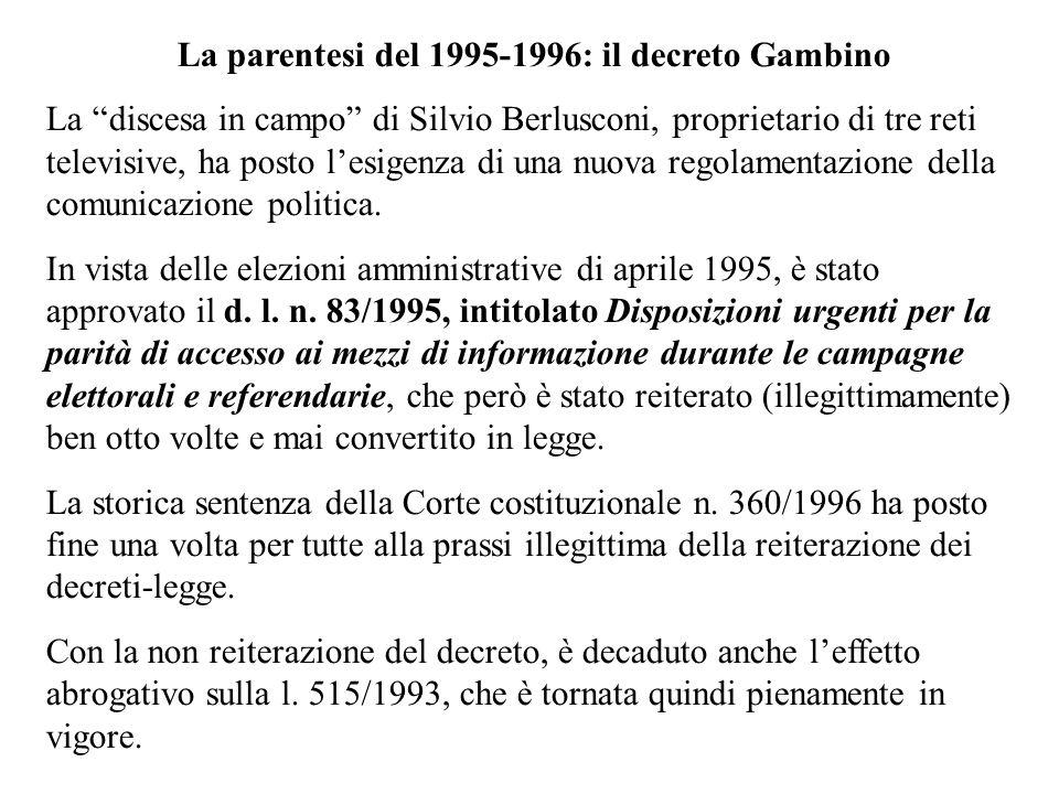La parentesi del 1995-1996: il decreto Gambino