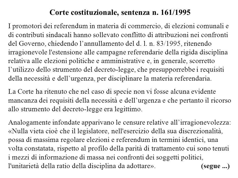 Corte costituzionale, sentenza n. 161/1995
