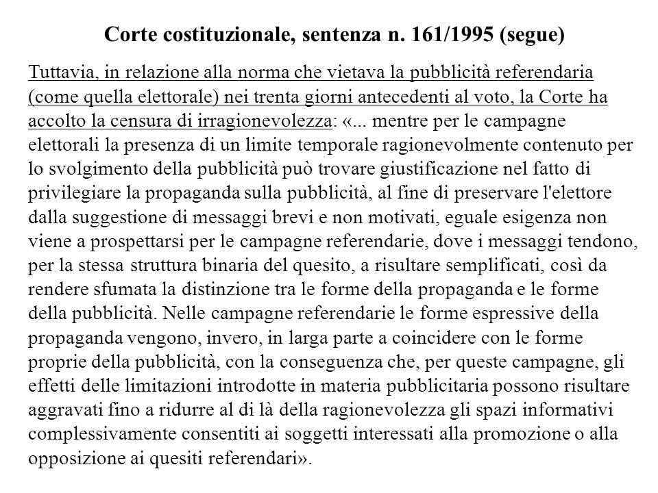 Corte costituzionale, sentenza n. 161/1995 (segue)