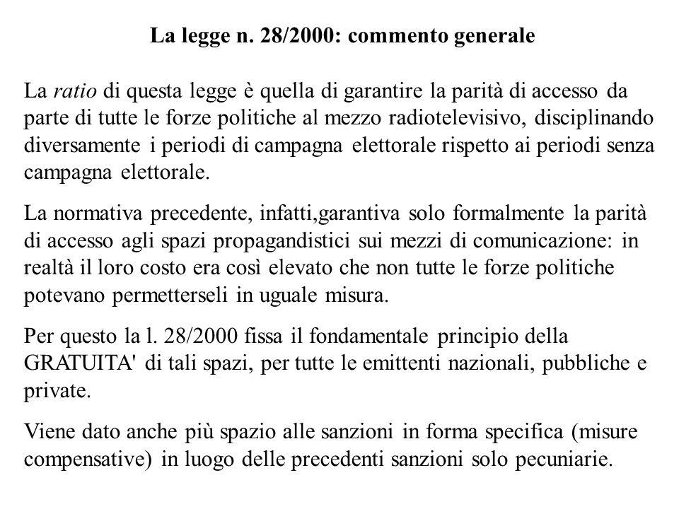 La legge n. 28/2000: commento generale