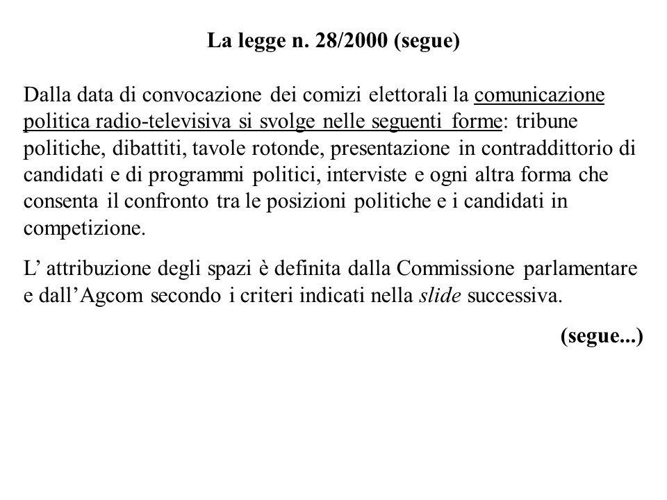 La legge n. 28/2000 (segue)