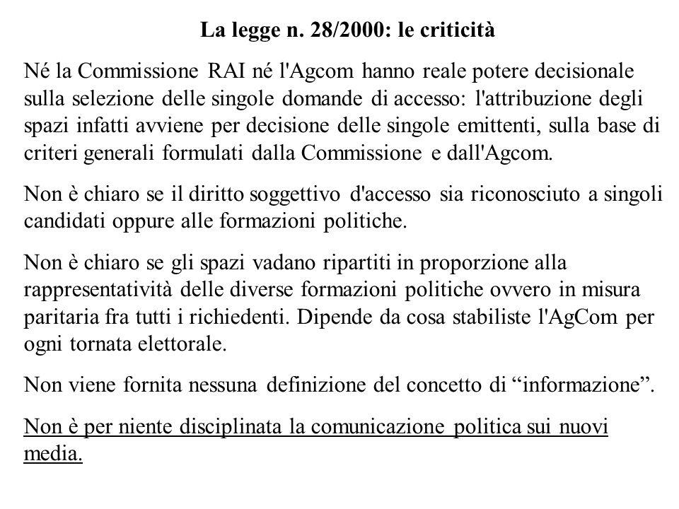 La legge n. 28/2000: le criticità