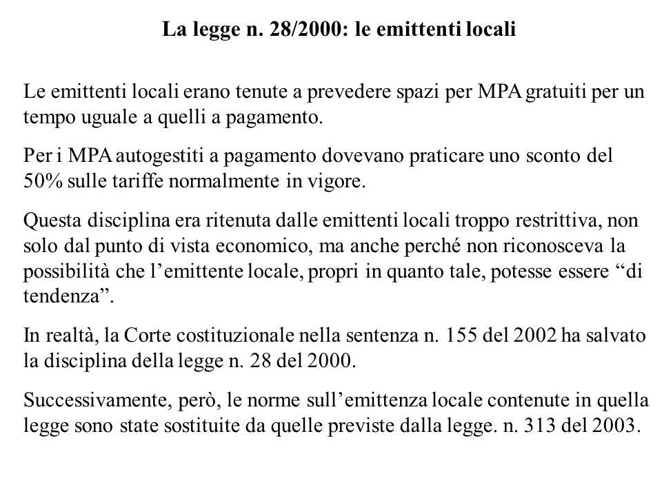 La legge n. 28/2000: le emittenti locali