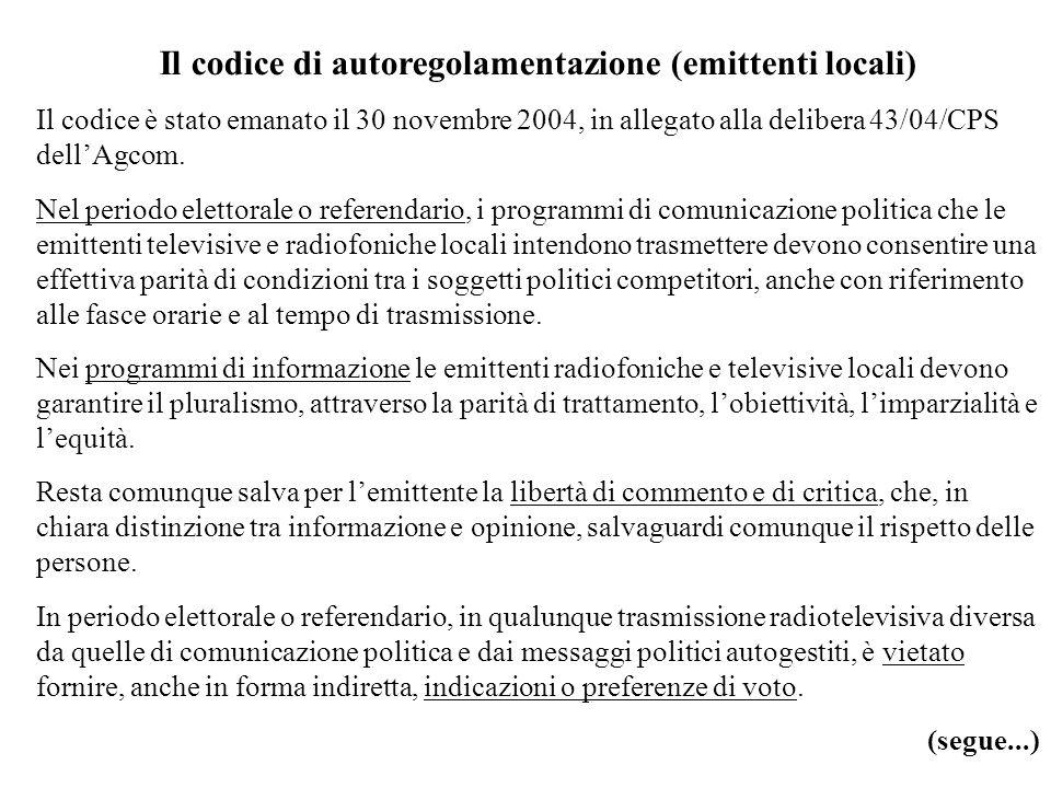 Il codice di autoregolamentazione (emittenti locali)