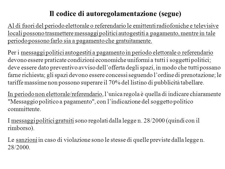 Il codice di autoregolamentazione (segue)