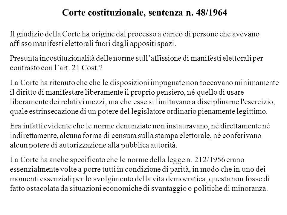 Corte costituzionale, sentenza n. 48/1964
