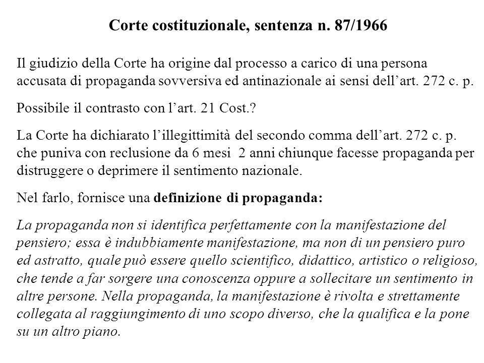 Corte costituzionale, sentenza n. 87/1966