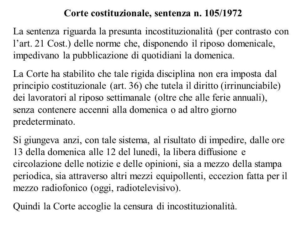 Corte costituzionale, sentenza n. 105/1972