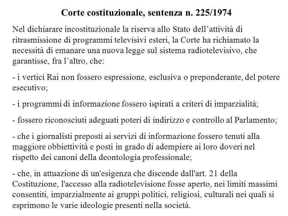 Corte costituzionale, sentenza n. 225/1974