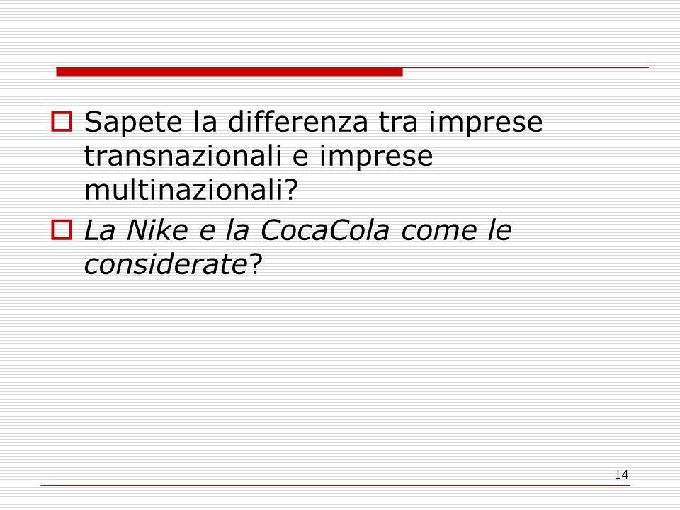 Sapete la differenza tra imprese transnazionali e imprese multinazionali