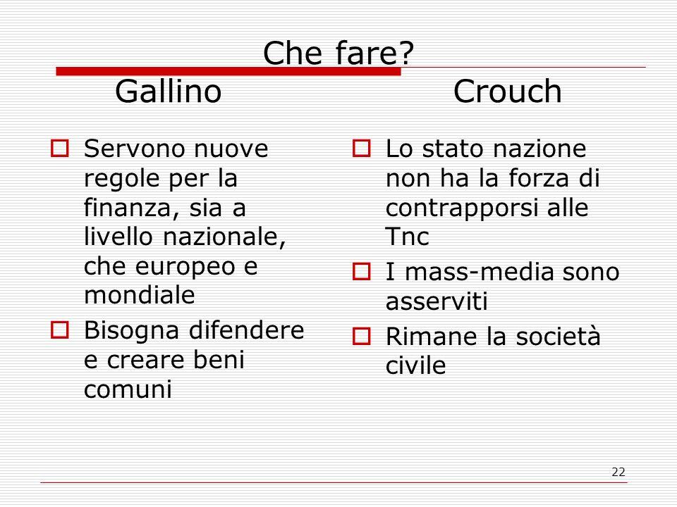 Che fare Gallino Crouch