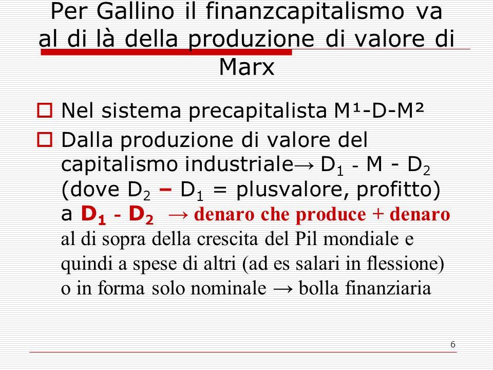 Per Gallino il finanzcapitalismo va al di là della produzione di valore di Marx