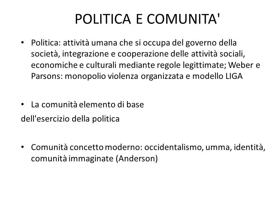 POLITICA E COMUNITA