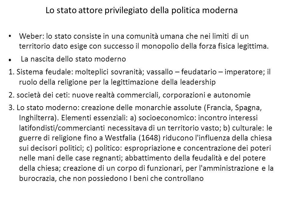 Lo stato attore privilegiato della politica moderna