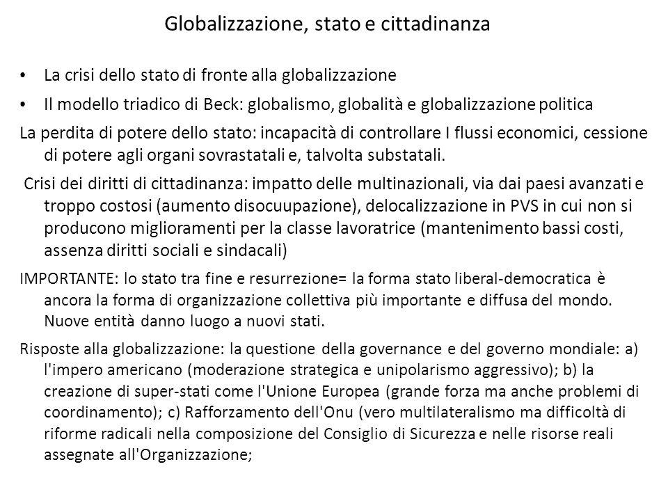 Globalizzazione, stato e cittadinanza