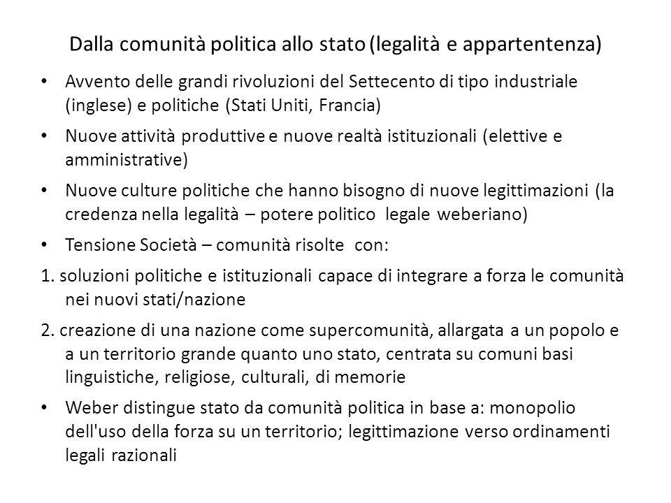 Dalla comunità politica allo stato (legalità e appartentenza)