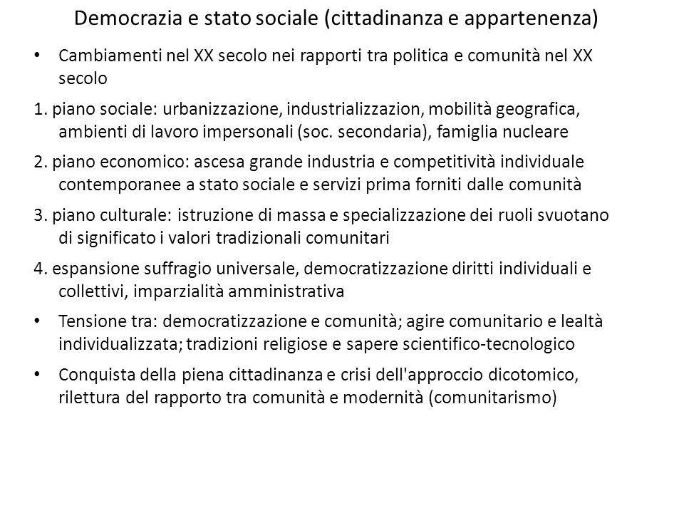 Democrazia e stato sociale (cittadinanza e appartenenza)