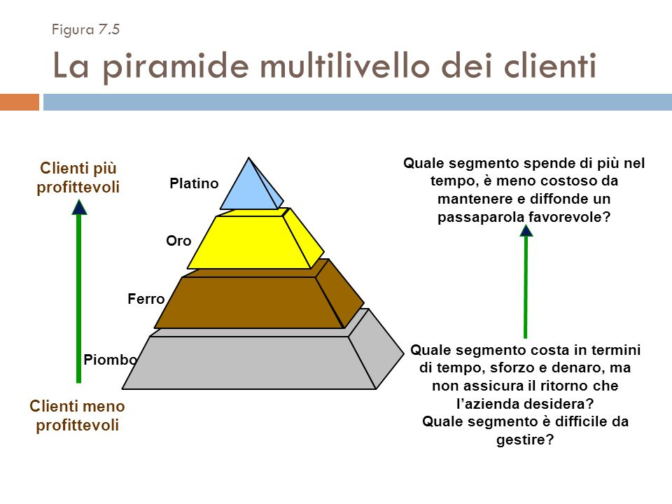 Figura 7.5 La piramide multilivello dei clienti