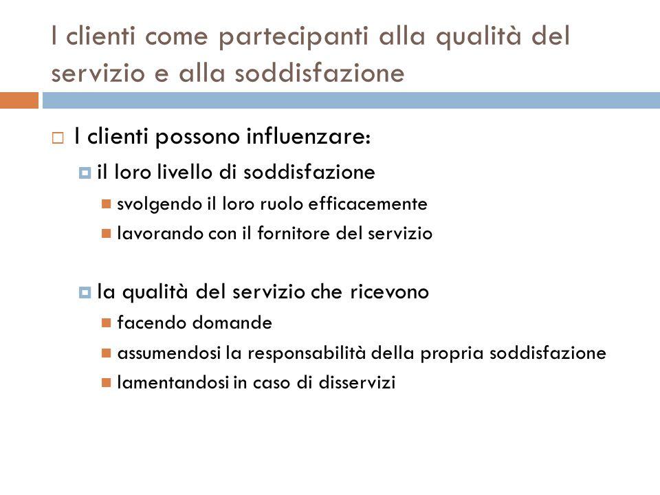 I clienti come partecipanti alla qualità del servizio e alla soddisfazione