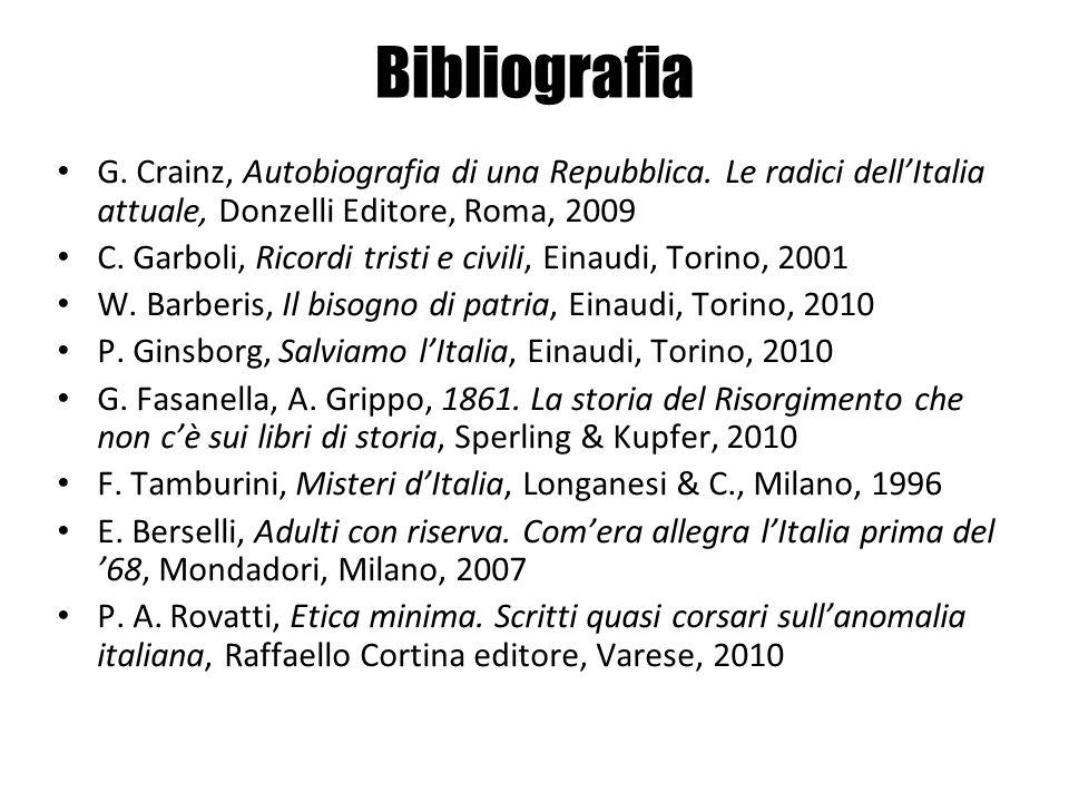 Bibliografia G. Crainz, Autobiografia di una Repubblica. Le radici dell'Italia attuale, Donzelli Editore, Roma, 2009.