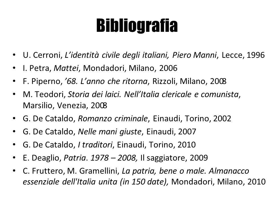 Bibliografia U. Cerroni, L'identità civile degli italiani, Piero Manni, Lecce, 1996. I. Petra, Mattei, Mondadori, Milano, 2006.