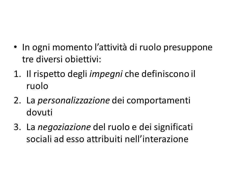 In ogni momento l'attività di ruolo presuppone tre diversi obiettivi: