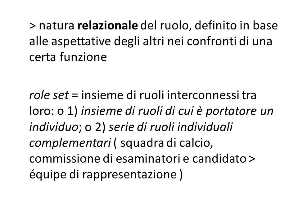 > natura relazionale del ruolo, definito in base alle aspettative degli altri nei confronti di una certa funzione