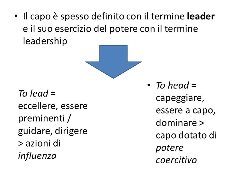 Il capo è spesso definito con il termine leader e il suo esercizio del potere con il termine leadership
