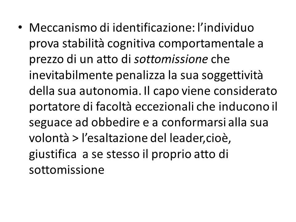 Meccanismo di identificazione: l'individuo prova stabilità cognitiva comportamentale a prezzo di un atto di sottomissione che inevitabilmente penalizza la sua soggettività della sua autonomia.