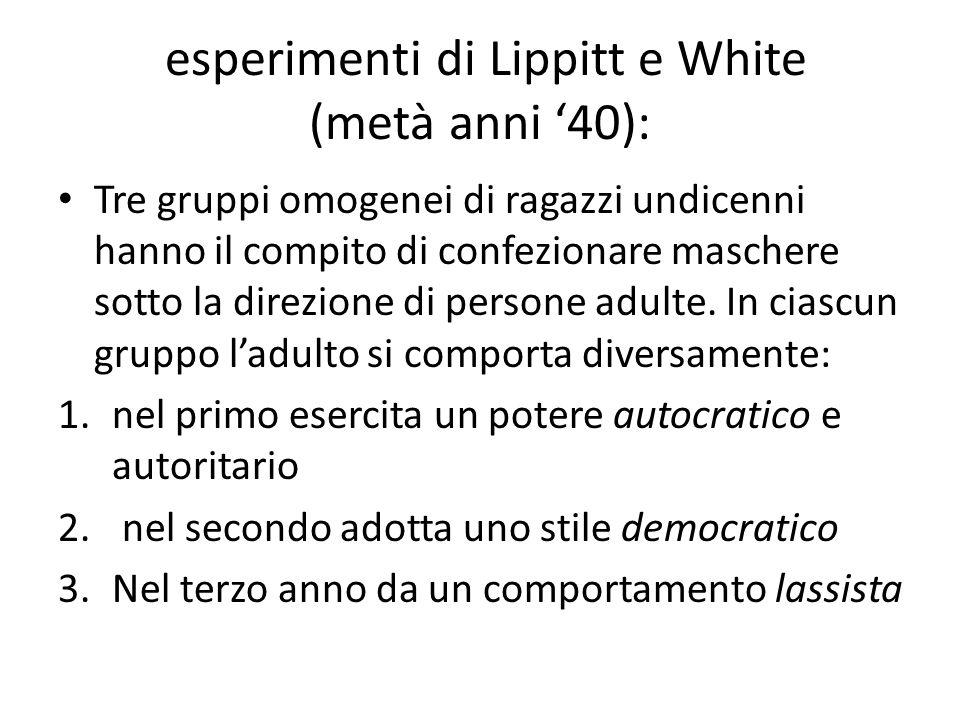 esperimenti di Lippitt e White (metà anni '40):