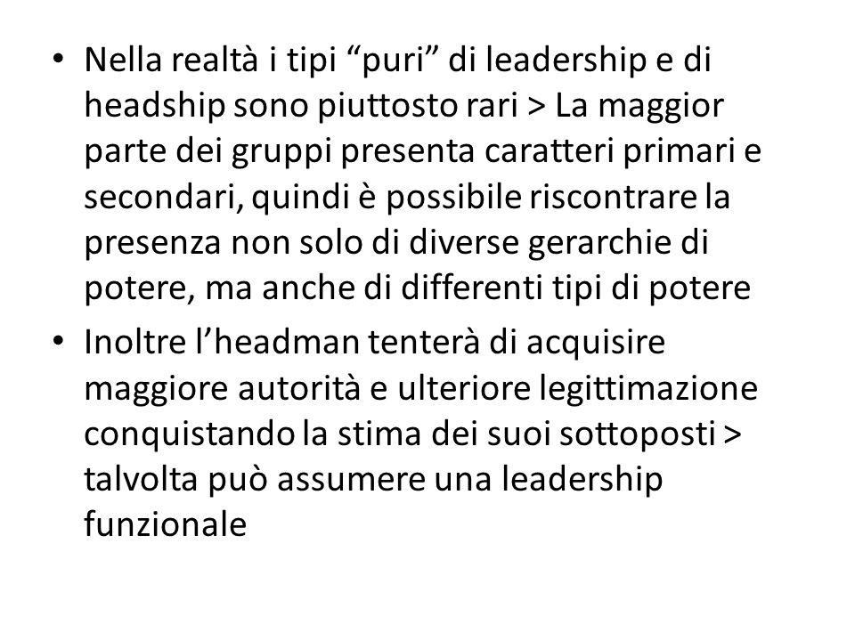 Nella realtà i tipi puri di leadership e di headship sono piuttosto rari > La maggior parte dei gruppi presenta caratteri primari e secondari, quindi è possibile riscontrare la presenza non solo di diverse gerarchie di potere, ma anche di differenti tipi di potere