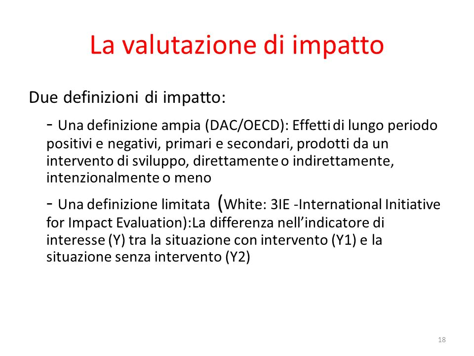 La valutazione di impatto