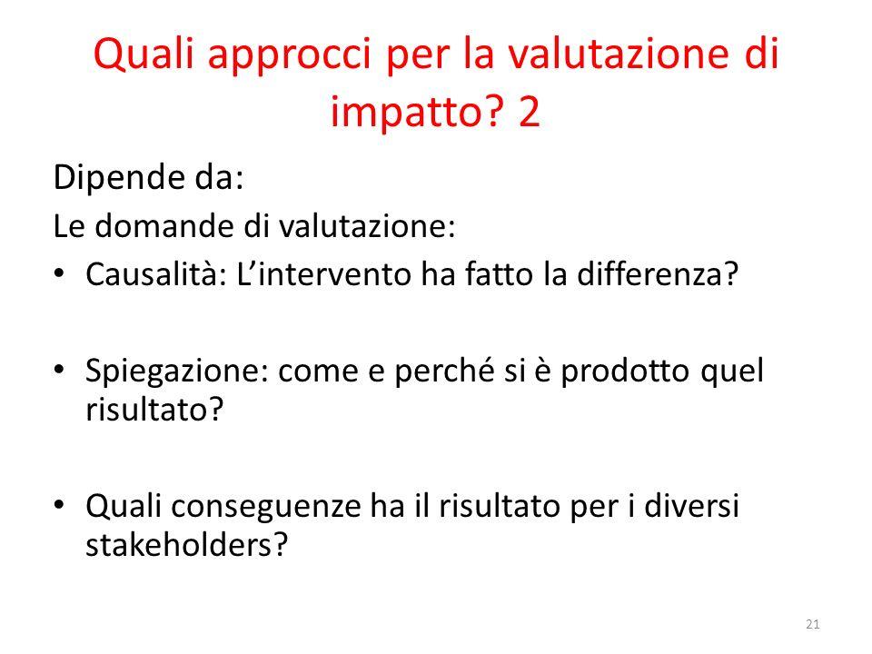 Quali approcci per la valutazione di impatto 2
