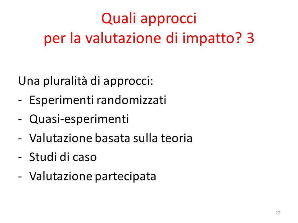 Quali approcci per la valutazione di impatto 3
