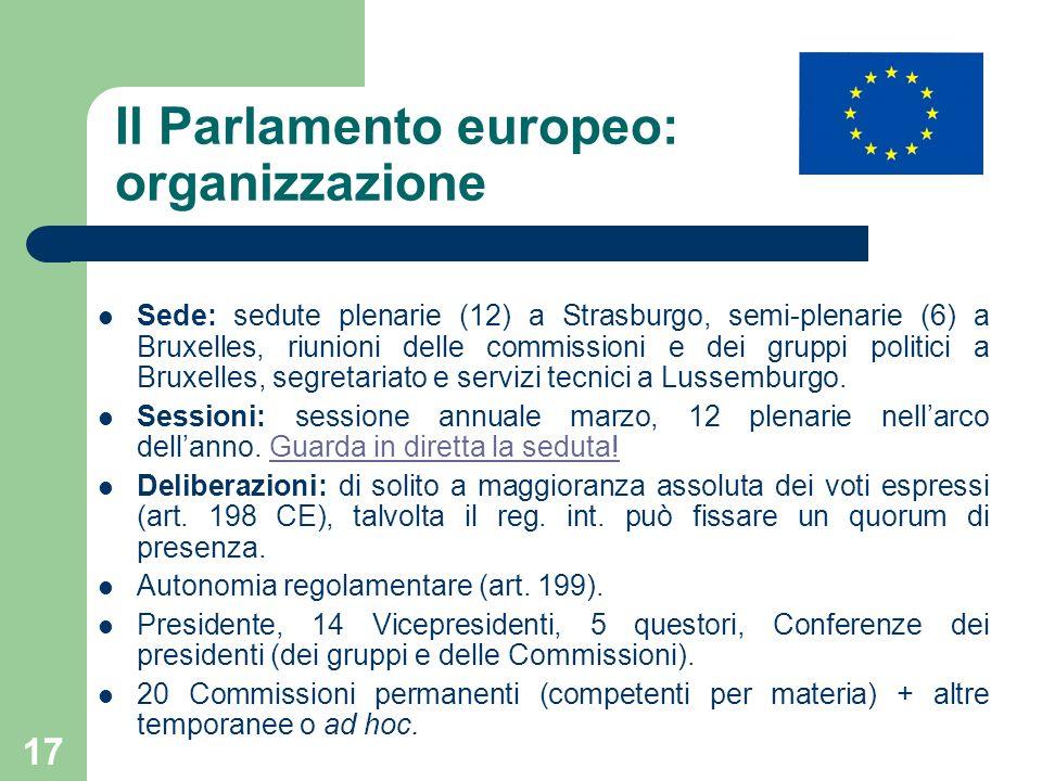 Il Parlamento europeo: organizzazione