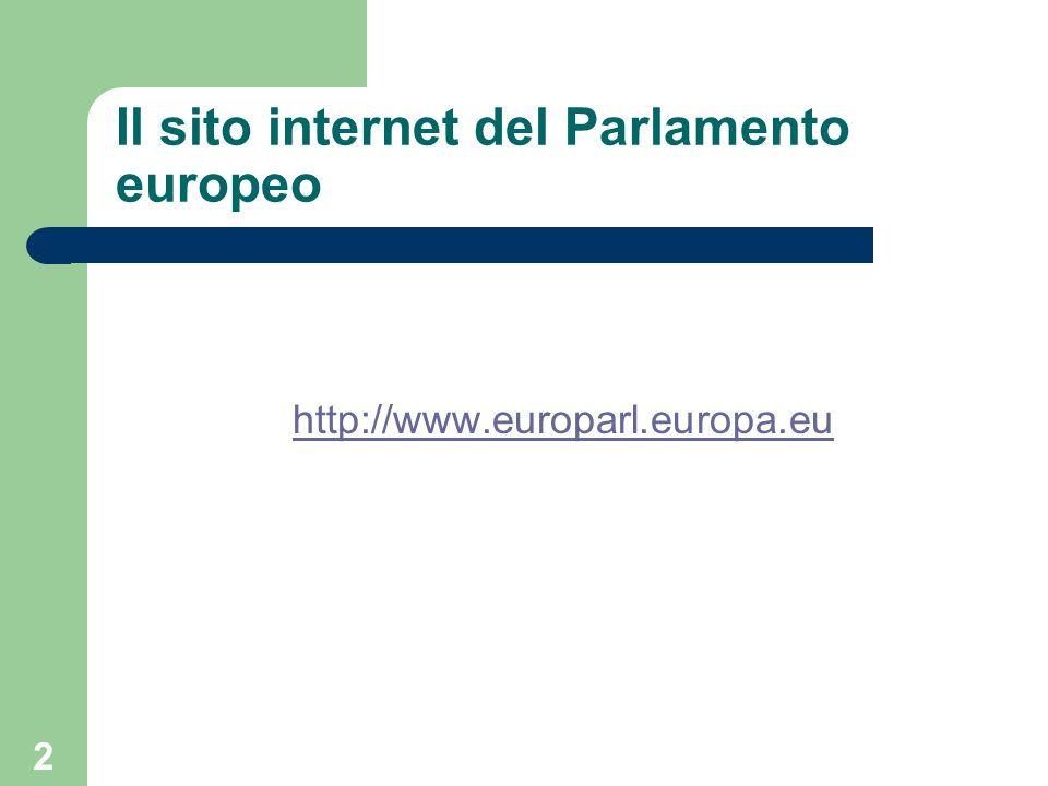 Il sito internet del Parlamento europeo