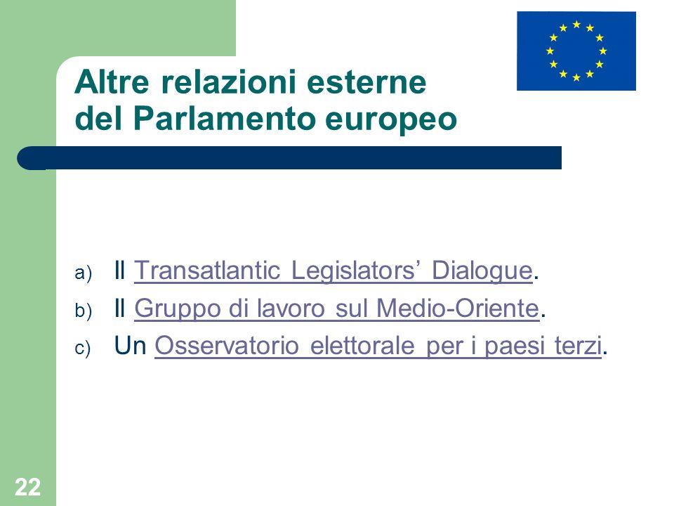 Altre relazioni esterne del Parlamento europeo