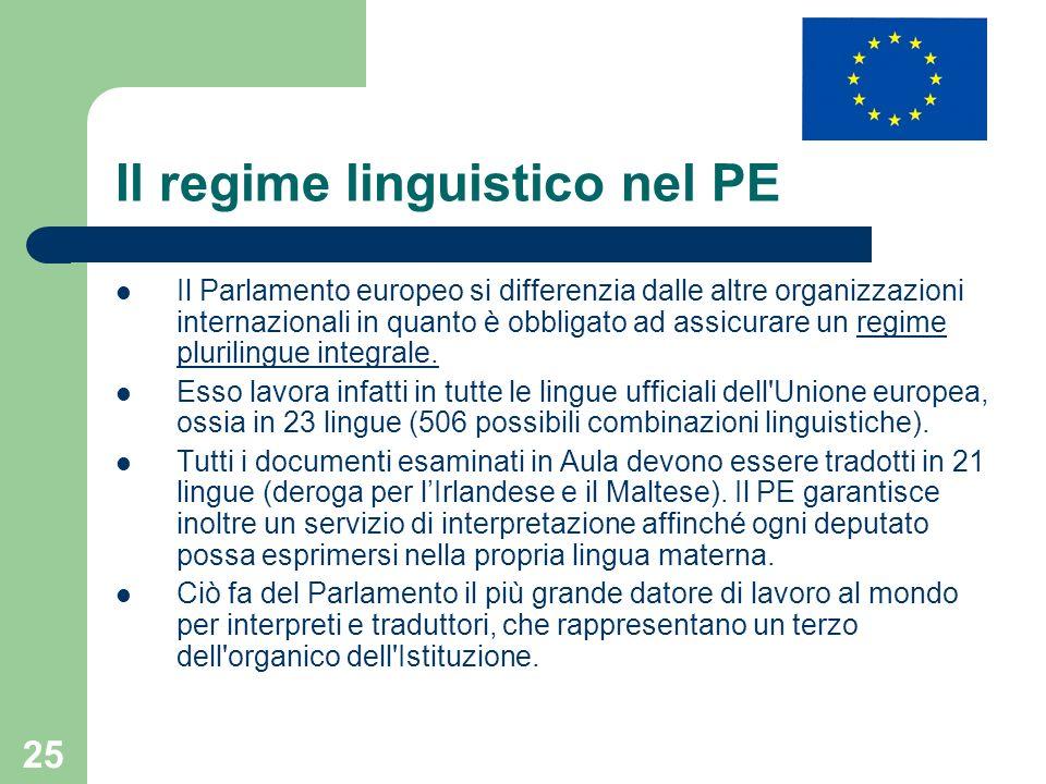 Il regime linguistico nel PE