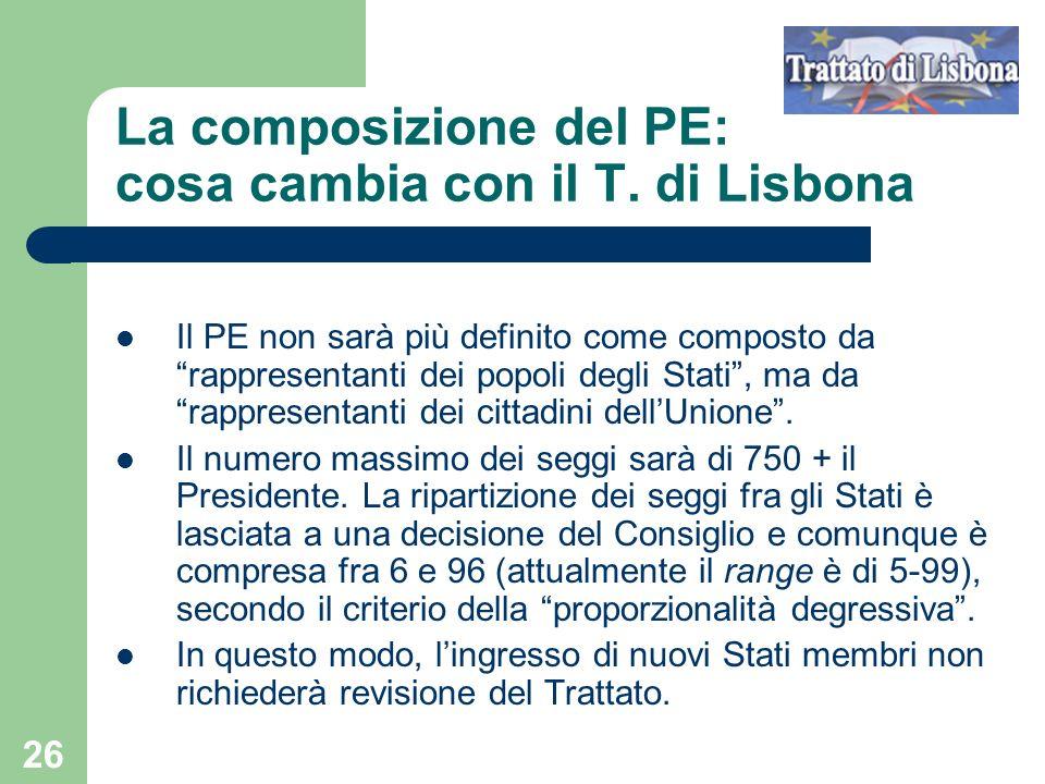 La composizione del PE: cosa cambia con il T. di Lisbona