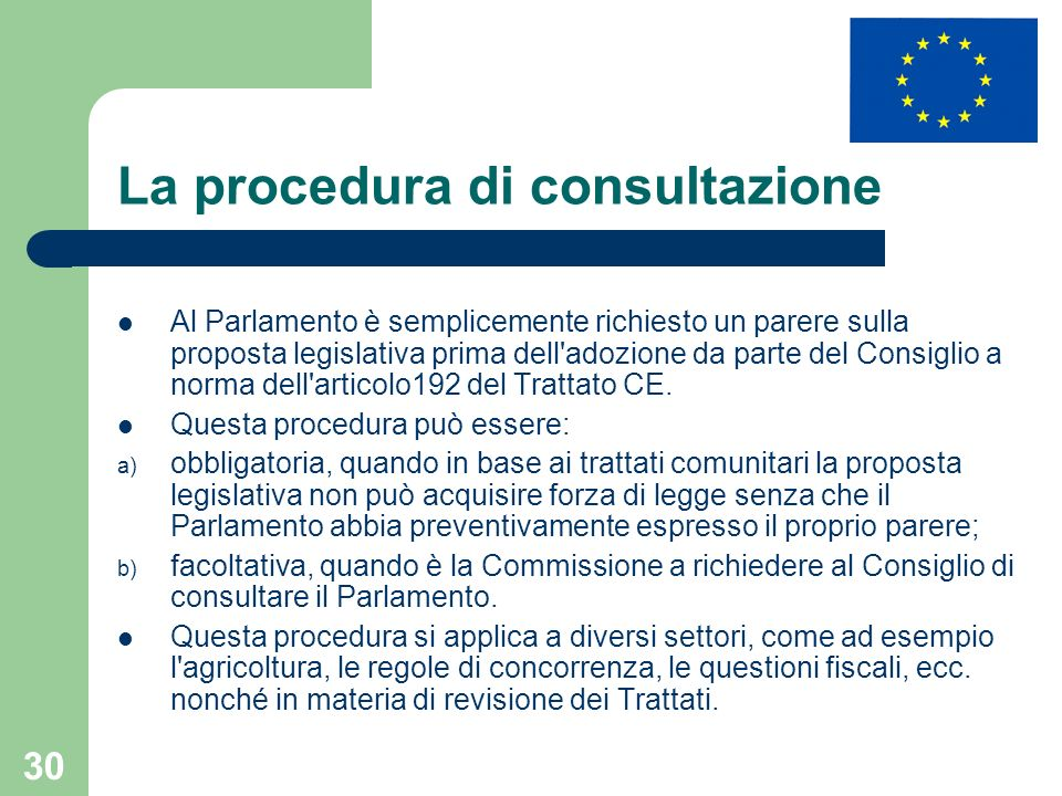 La procedura di consultazione
